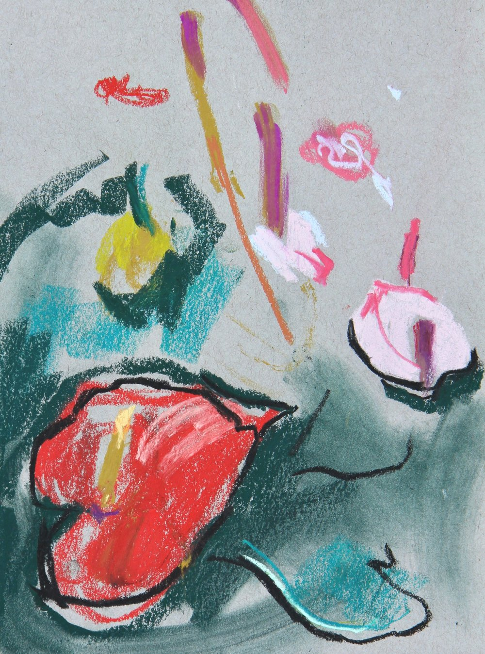 plant study - anthuriums 2 - 21 x 29cm, pastels on grey paper. Mounted on acid-free board £125