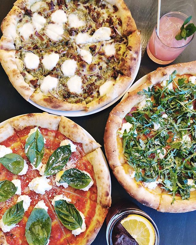 We added six new pizzas to our menu! Pictured: Makin' Bacon, Whole Lotta Love and the Burrata Pizza 🍕