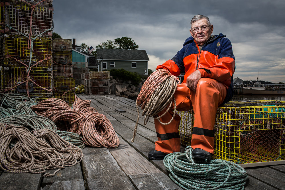 Andy Gove, an 88-year-old lobsterman from Stonington, Maine. Still actively out setting traps, Gove got his first lobster license in 1937.Gove has been working in the same harbor since he was a boy and his vast knowledge of the water and the region has earned him accolades in search and rescue operations when the Coast Guard asks for his help.