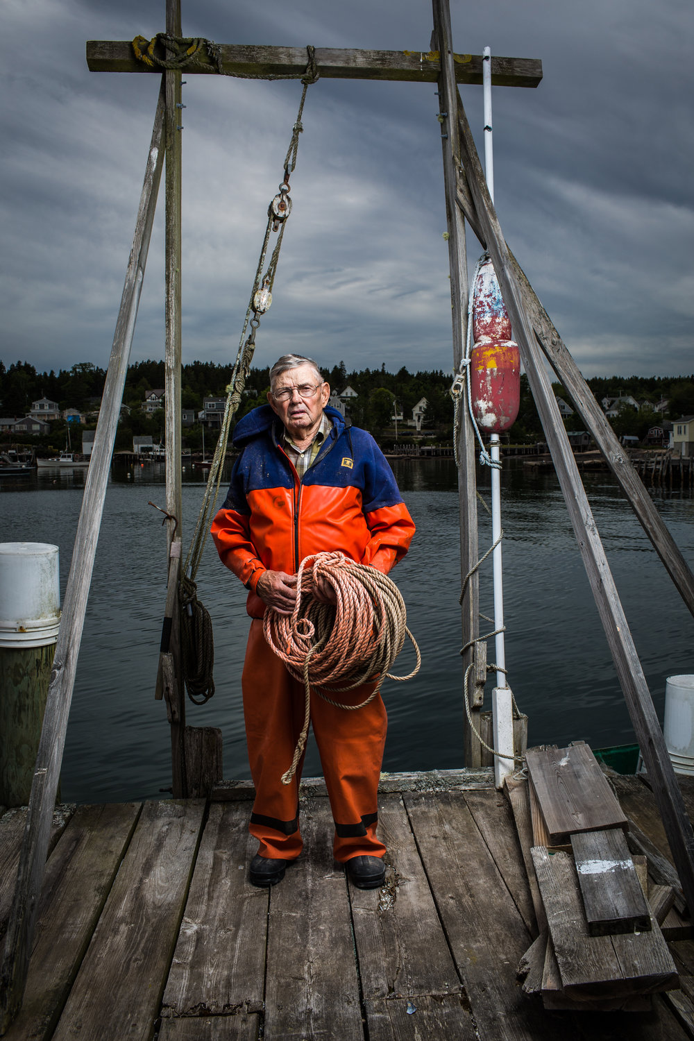 Andy Gove, an 88-year-old lobsterman from Stonington, Maine. Still actively out setting traps, Gove got his first lobster license in 1937. Gove has been working in the same harbor since he was a boy and his vast knowledge of the water and the region has earned him accolades in search and rescue operations when the Coast Guard asks for his help.