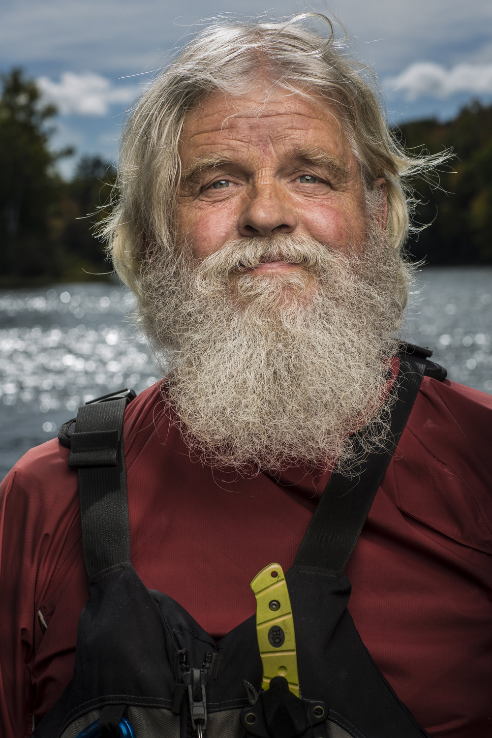 """The one and only Johnny Mac, photographed at Crusher Pool in The Forks, Maine. At the age of 65, this is Johnny's 34th consecutive season as a river guide. Normally a job associated with younger people, Johnny doesn't plan to stop anytime soon. """"I always said I'd do this until I wasn't having fun anymore."""" He sure seems like he's still having a good time on the river."""