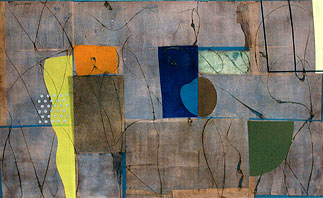 Subtracted Word #9, oil and mixed mediums on canvas,  48 by 78 inches, 2003