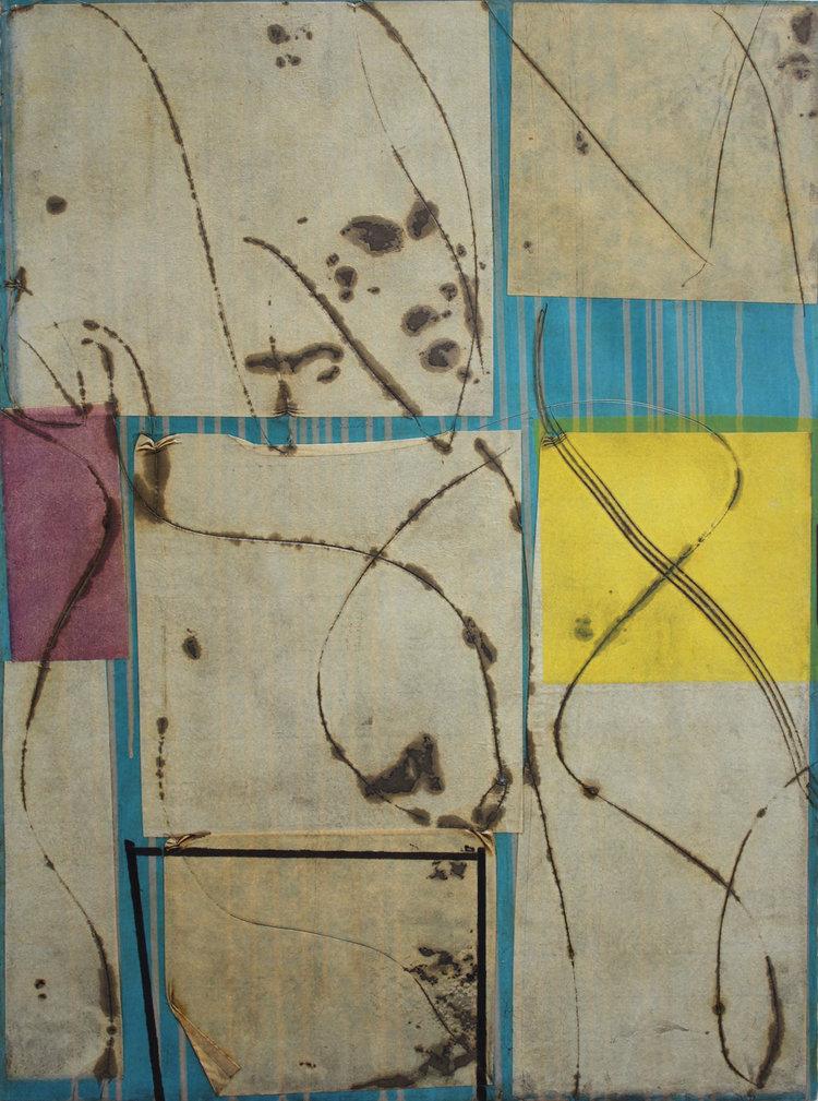 Epigram 54 oil, gel, rice paper on paper 30x22 inches 76x56 cm 2017