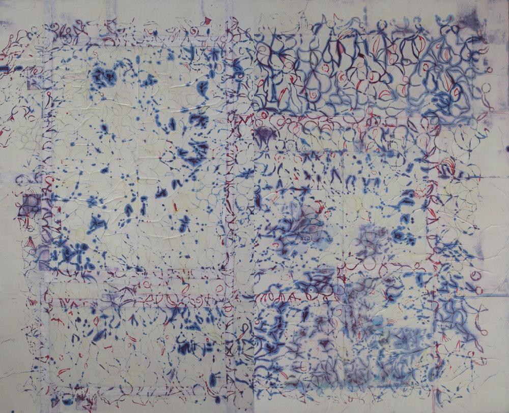 Rhizome 22, 78x96 inches 198x244cm, oil, gel, paper on canvas 2017