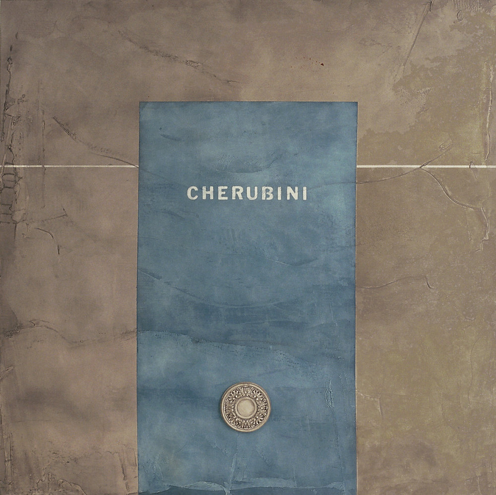 Cherubini 74x74 inches 188x188cm oil, gesso, plaster on canvas 1995
