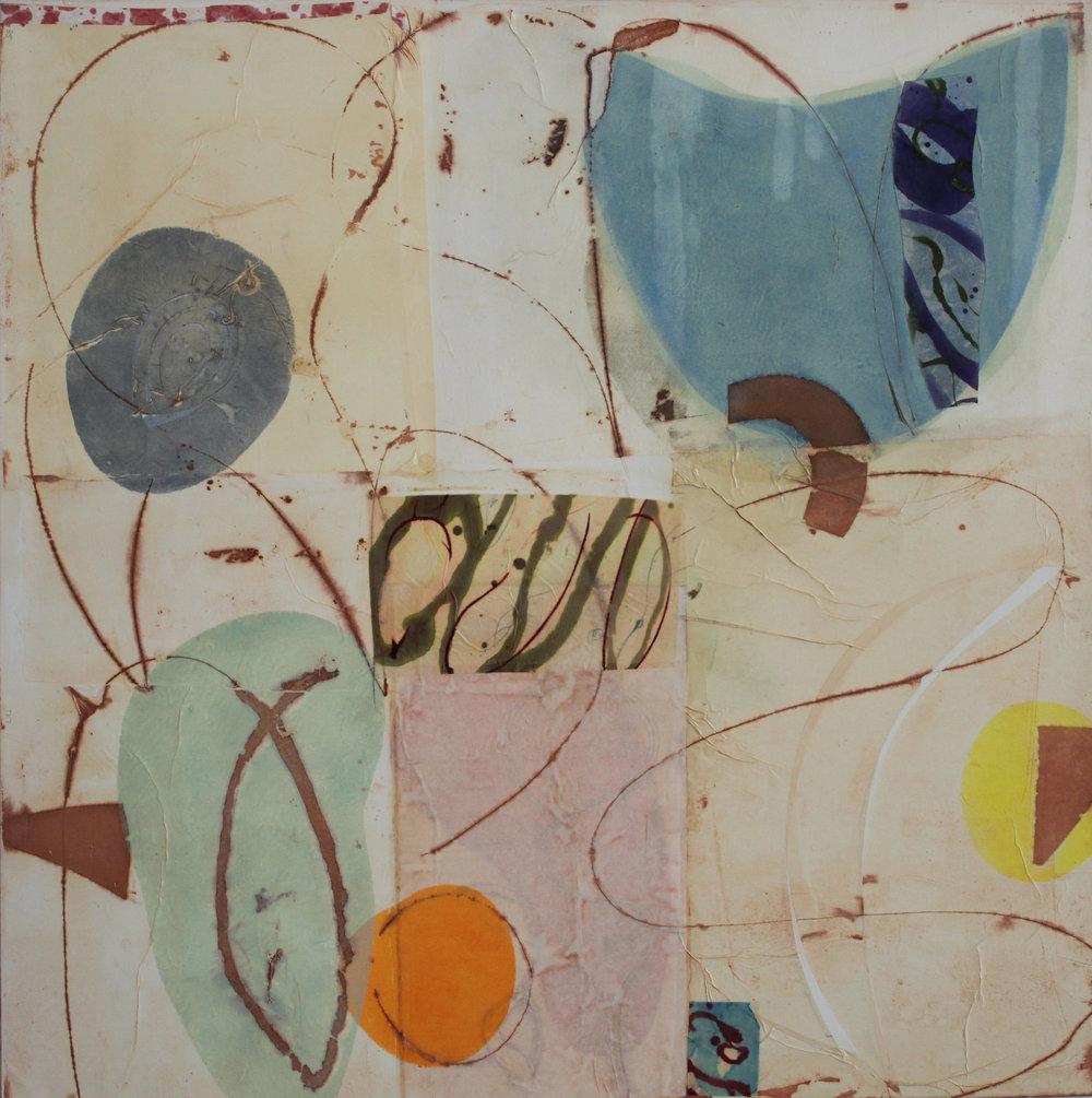 Epigram 20 48x48 inches 122x122 cm oil, gel, paper on canvas 017