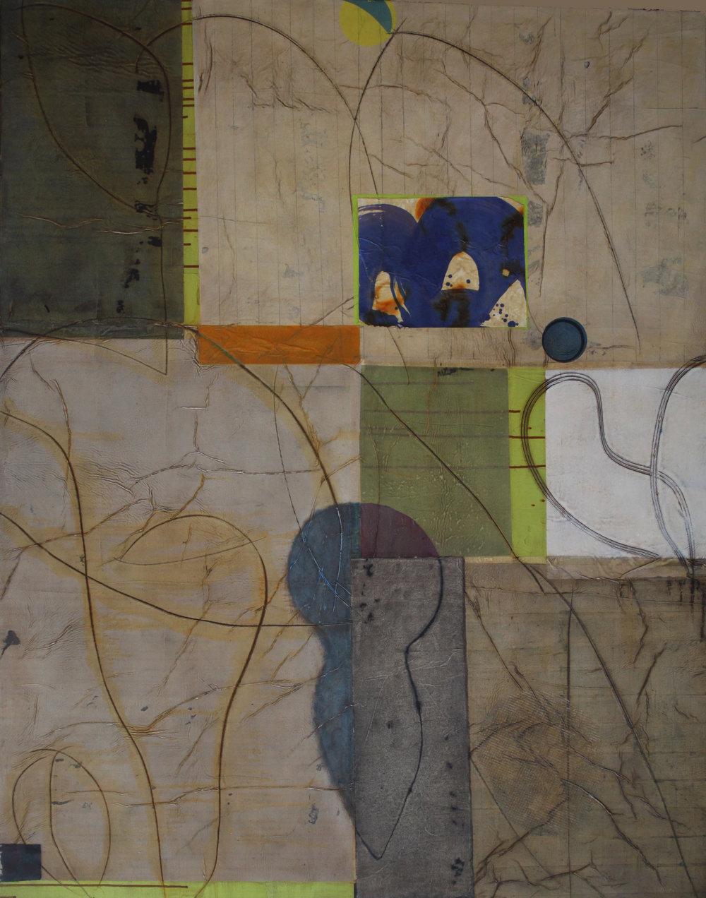 Epigram 70 60x48inches, 152x122cm oil, gel, paper on canvas 2015