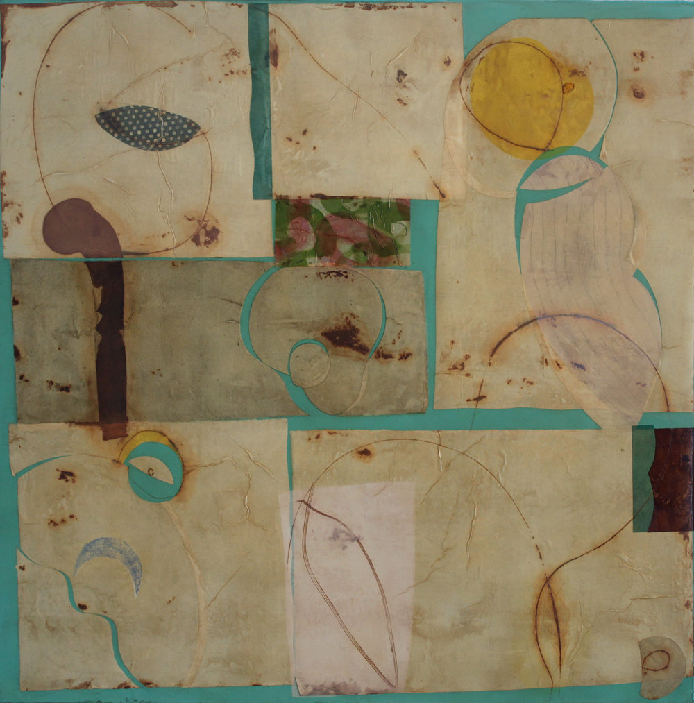 Epigram 38 68x68 inches, 173x173 cm oil, gel, paper on canvas 2014