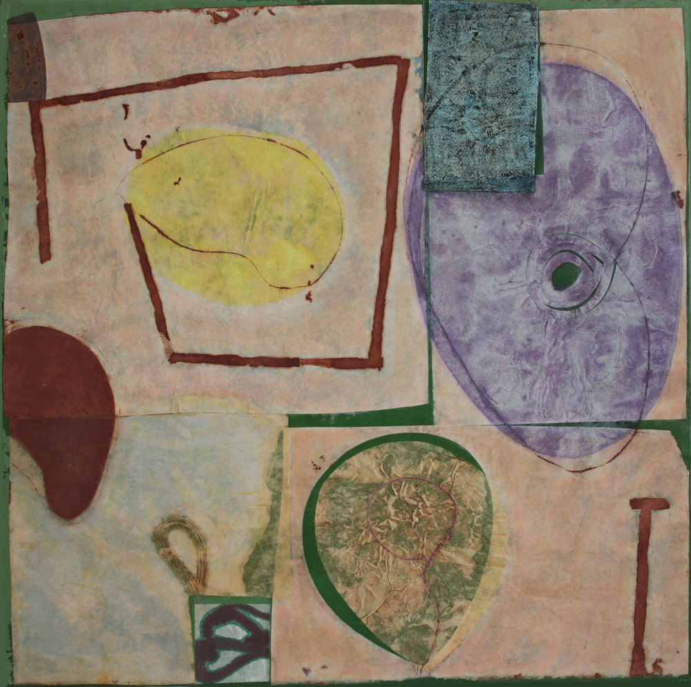 Pink Melon Joy 5 36x36 inches, 92x92 cm oil, gel, paper on canvas 2016