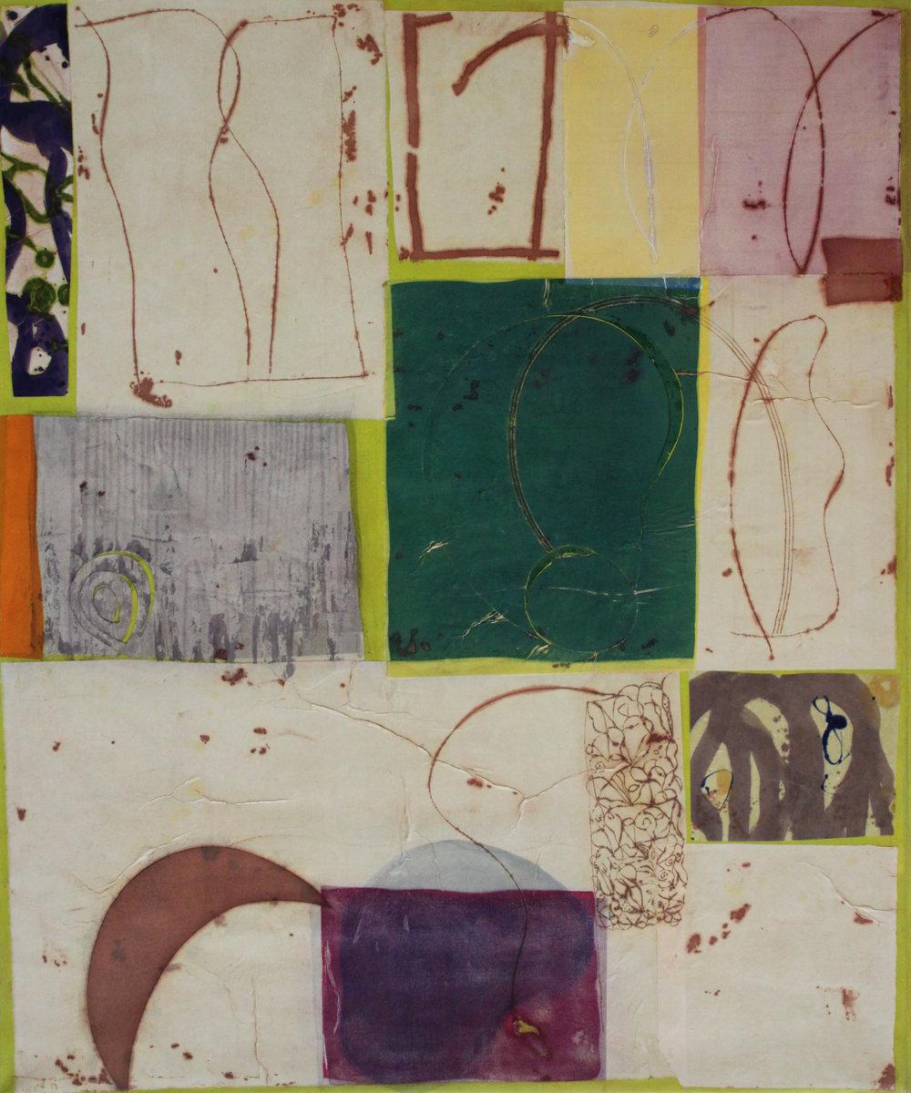 Epigram 40 58x48 inches, 150x122 cm oil, gel, rice paper on canvas 2015