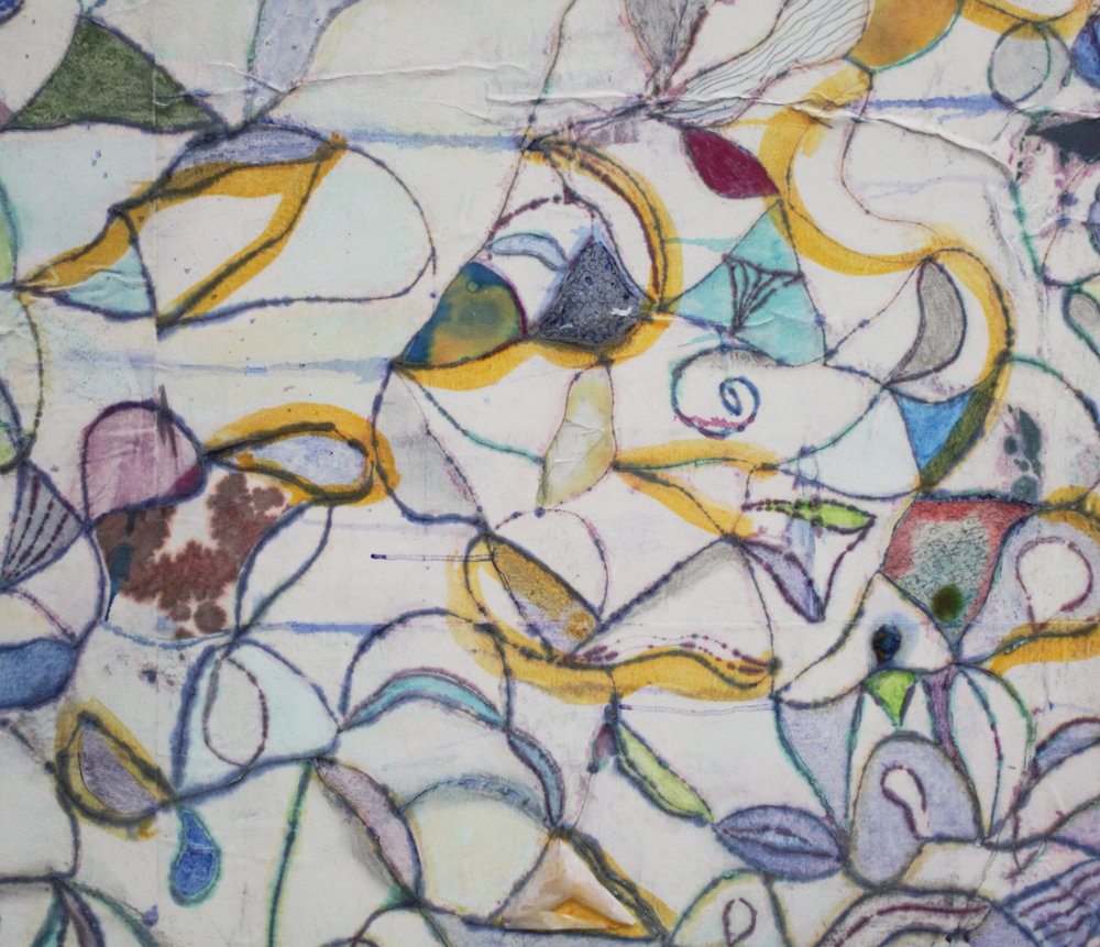 Rhizome 21 (detail) 78x66 inches, 198x168 cm oil, gel, rice paper on canvas 2018