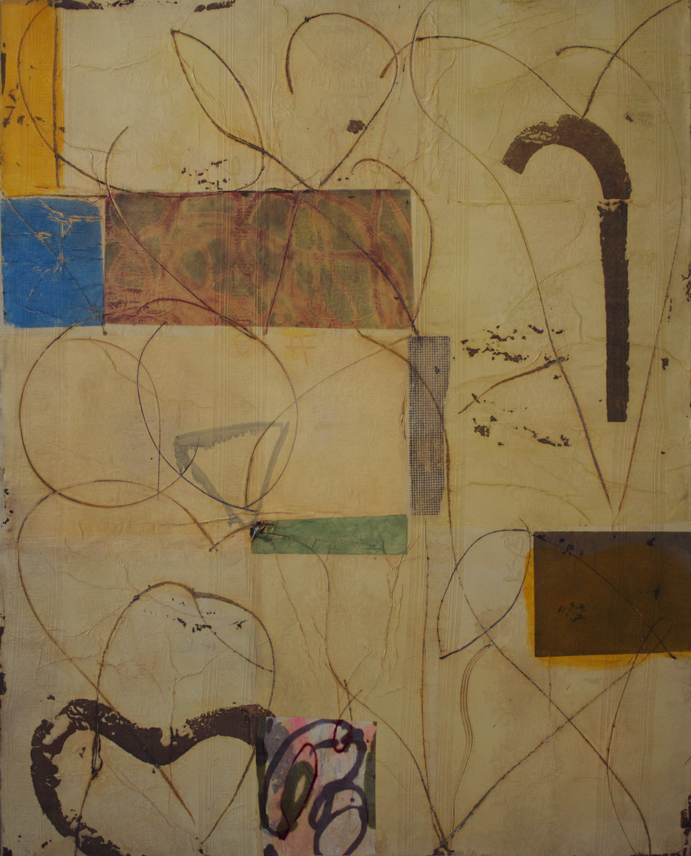 Synesthesia 15 60x48 inches 152x122 cm oil gel, rice paper on fabric 2014