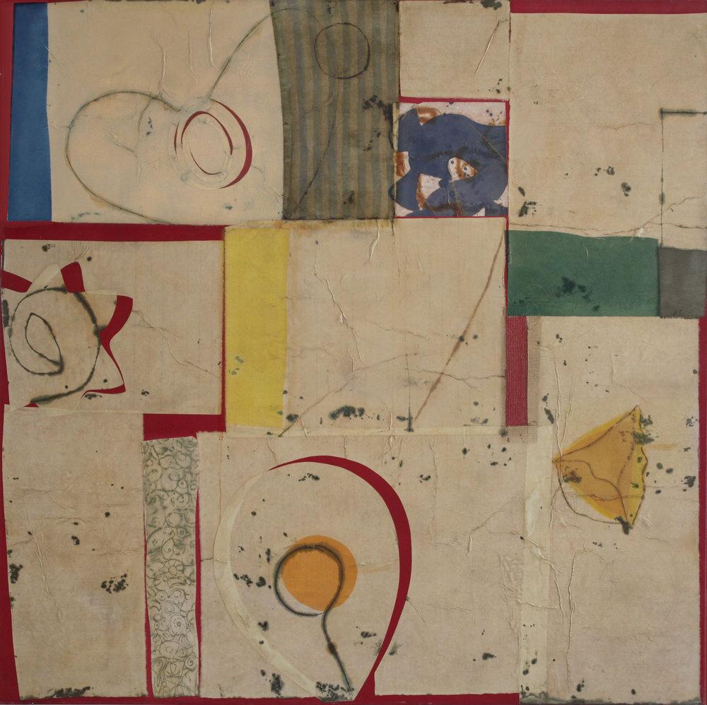Epigram 32 68x68 oil, gesso, paper on canvas