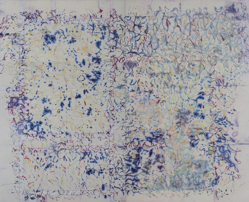Rhizome 22 78x96 inches 198x244 cm  (dyptich)  oil, gel, rice paper on canvas  2018