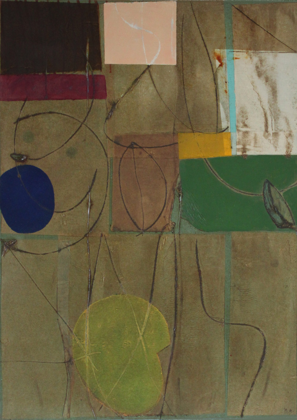 Epigram 106 oil, ink, gel, rice paper on paper 30x22 inches 76x56 cm 2015