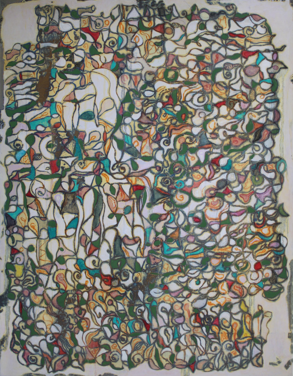 Rhizome 3 45x58 inches, 135x174 cm  oil, gel, rice paper on canvas 2016