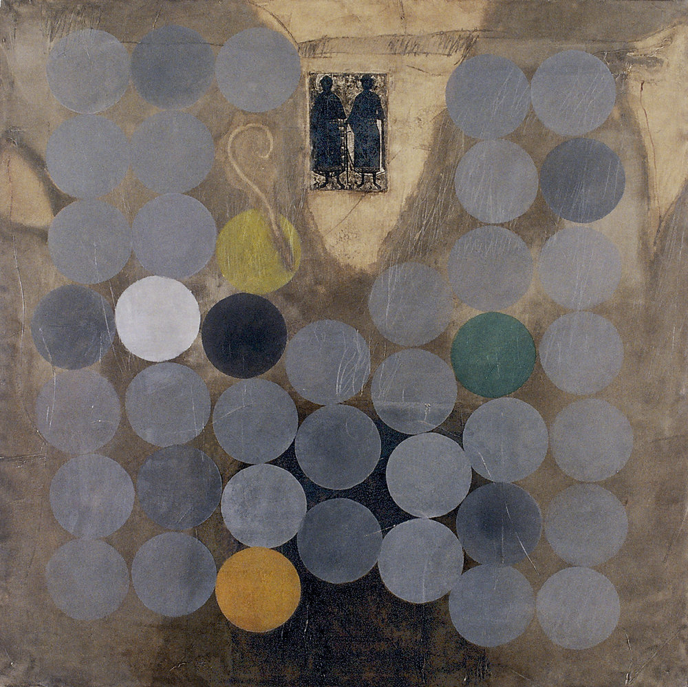 Melanctha 74x74 inches 188x188cm oil,gesso, ink transfer on canvas 1994