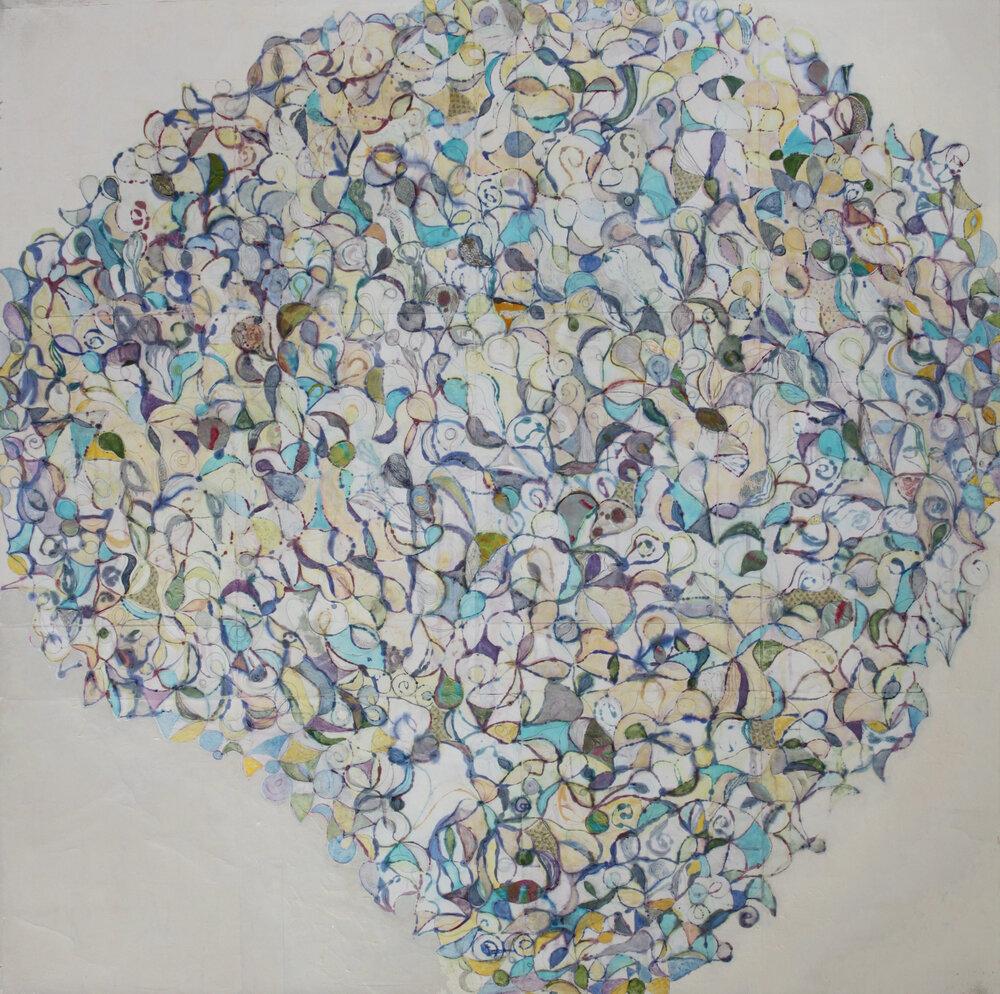 Rhizome 19 74x74 inches, 188x188 cm oil, gel, paper on canvas 2018