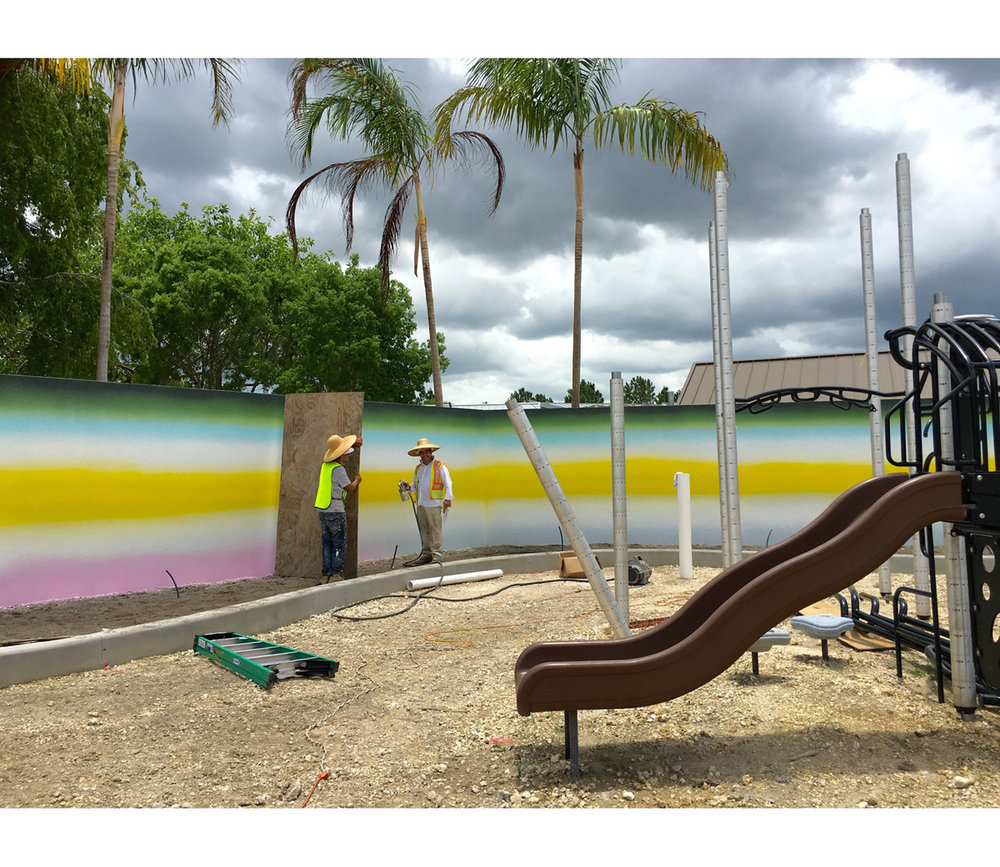 Outdoor permanent mural (detail)  2016, 43 x 2.7 m, Children's Play Area, Miami-Dade Art in Public Places, Zoo Miami