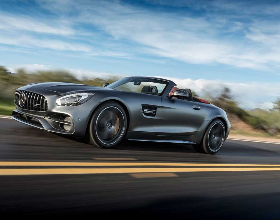 Welcome Our Newest Addition - 2018 AMG GT C RoadsterEvery straightaway – pure approach. Every curve – a new challenge. Taming the power of up to 558 horses. In the fresh air. Savoring the smell of speed. Feel the power of the AMG 4.0-liter V8 biturbo engine. From 0 to 100 km/h in 3.7 seconds with the Mercedes-AMG GT C Roadster. 680 Nm of torque, with its spontaneous response and plenty of tractive power even at low revs. The short ratios in 1st and 7th gear enable particularly dynamic spurts. RACE START offers added zip and sensitive anti-slip control for an even more emotional driving experience. In a nutshell: pure, unfiltered power. Classic strengths revived!