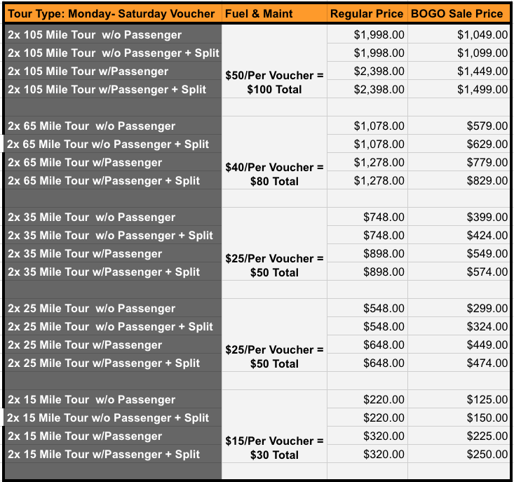 PRICING SCHEDULE FOR 2019 SEASON RALLY TOUR - Buy 1, Get 1 Free Sale