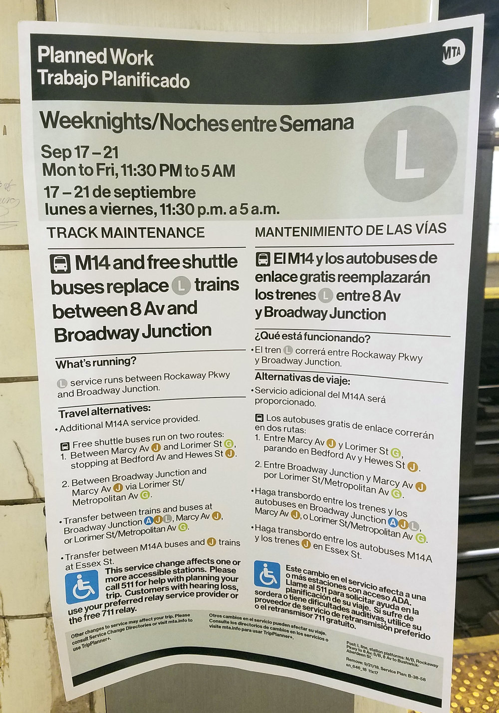 MTA service change sign