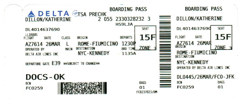 Original boarding pass