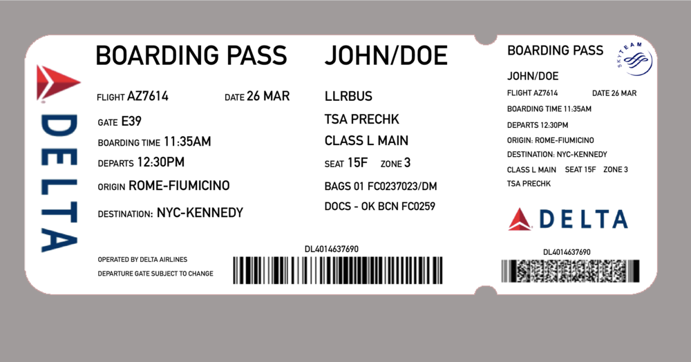 Re-designed Boarding Pass