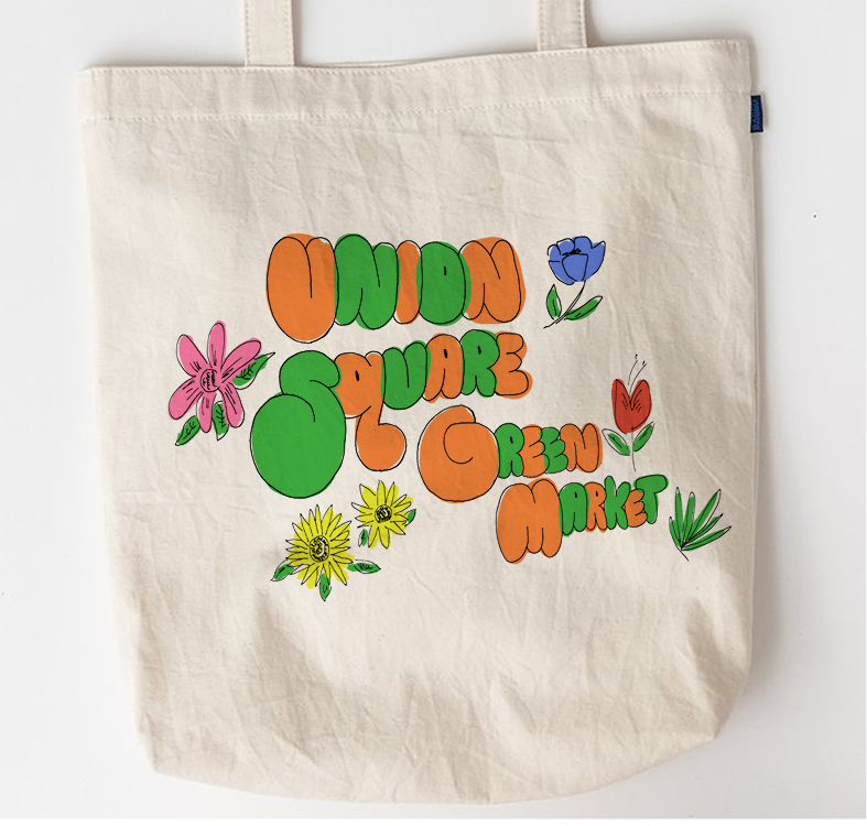 Tote Bag for Union Square Green Market. Illustration Design. Ink and Adobe Photoshop. 2018. Instructor: Melanie Marder Parks