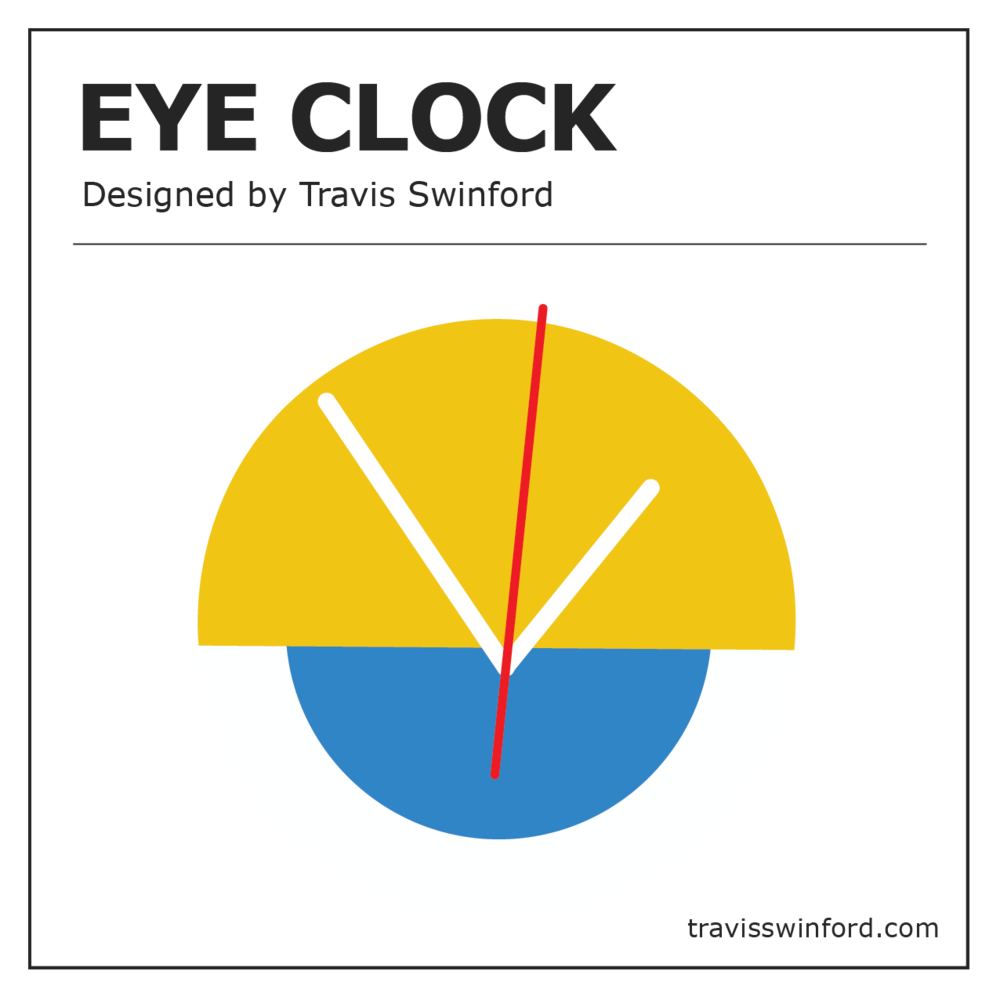 """The """"Eye Clock"""" - was designed in 2018 and is made to order. Visit the shop for available colors and stock. Photos by Claire and Rosie."""