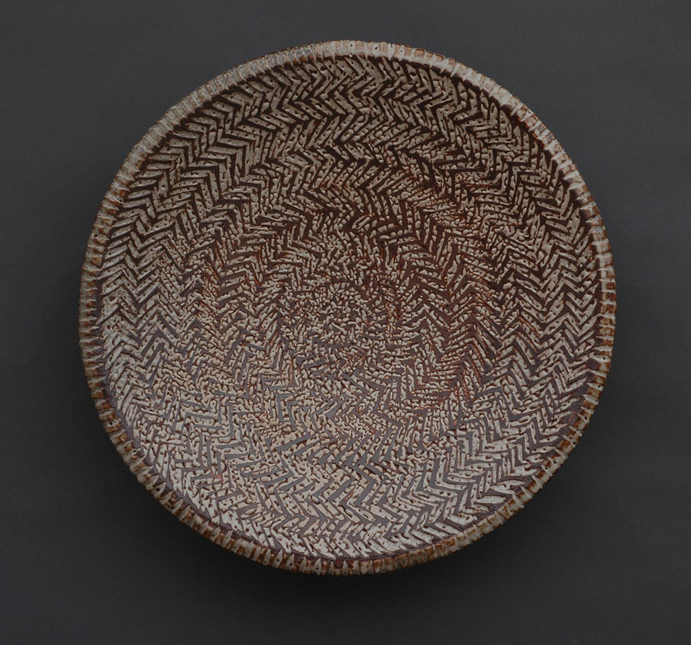"Herringbone Platter, Carved Pattern w/ Inlay - 24"" Diameter, 5"" Height"