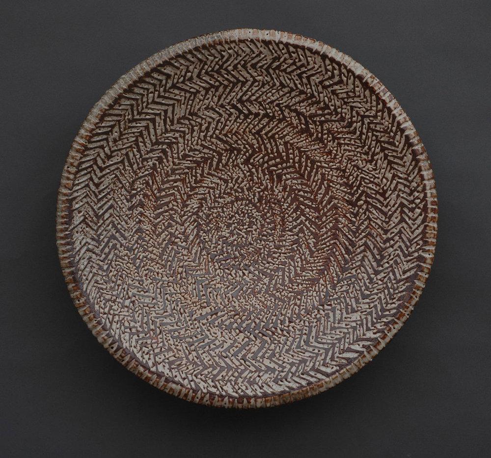 "Herringbone Platter, Carved Pattern w/ Inlay - 24"" Diameter, 5"" Height"