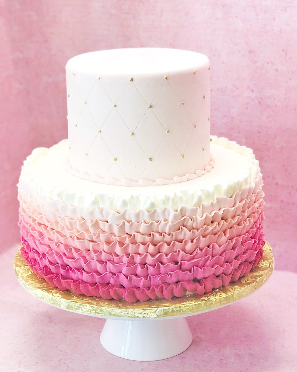 Pink Ruffle Cake with Gold