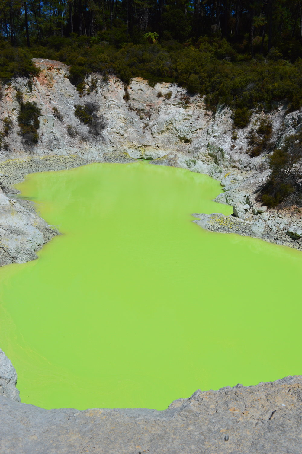 Green geothermal sulpherous pool