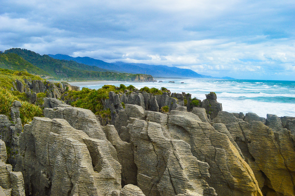 Layered rock formations at Pancake Rocks