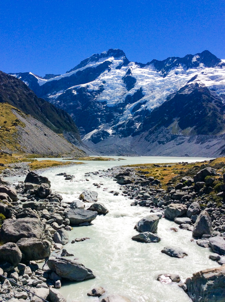 river formed from melting glaciers at Mount Cook