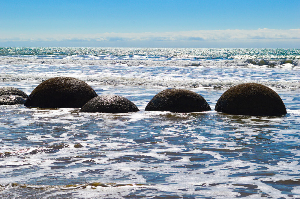 Moeraki Boulders at the start of high tide