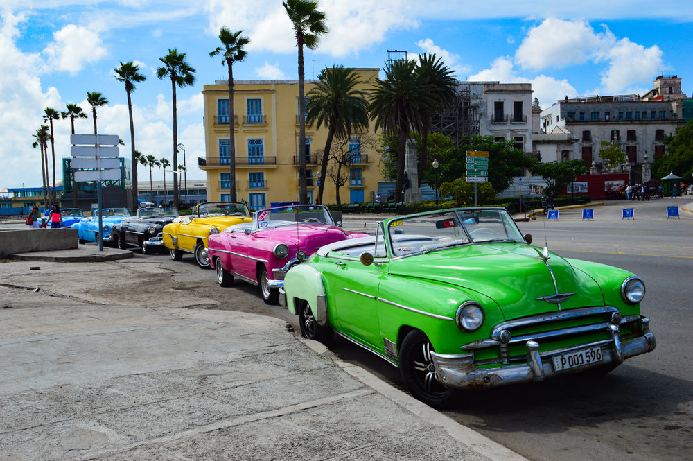 Vintage convertible cars lining the Malecon in Havana