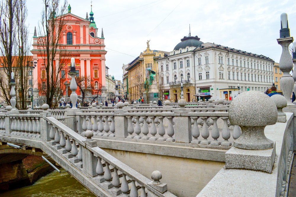 The famous 'triple bridge' of Ljublajana connecting the historic town with the modern city