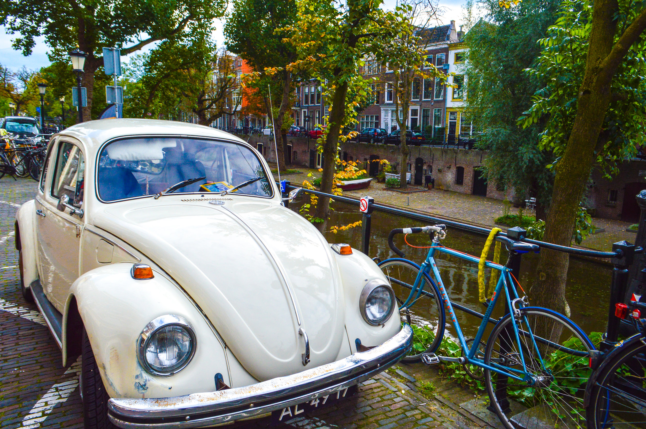 Vintage car next to Utrecht River