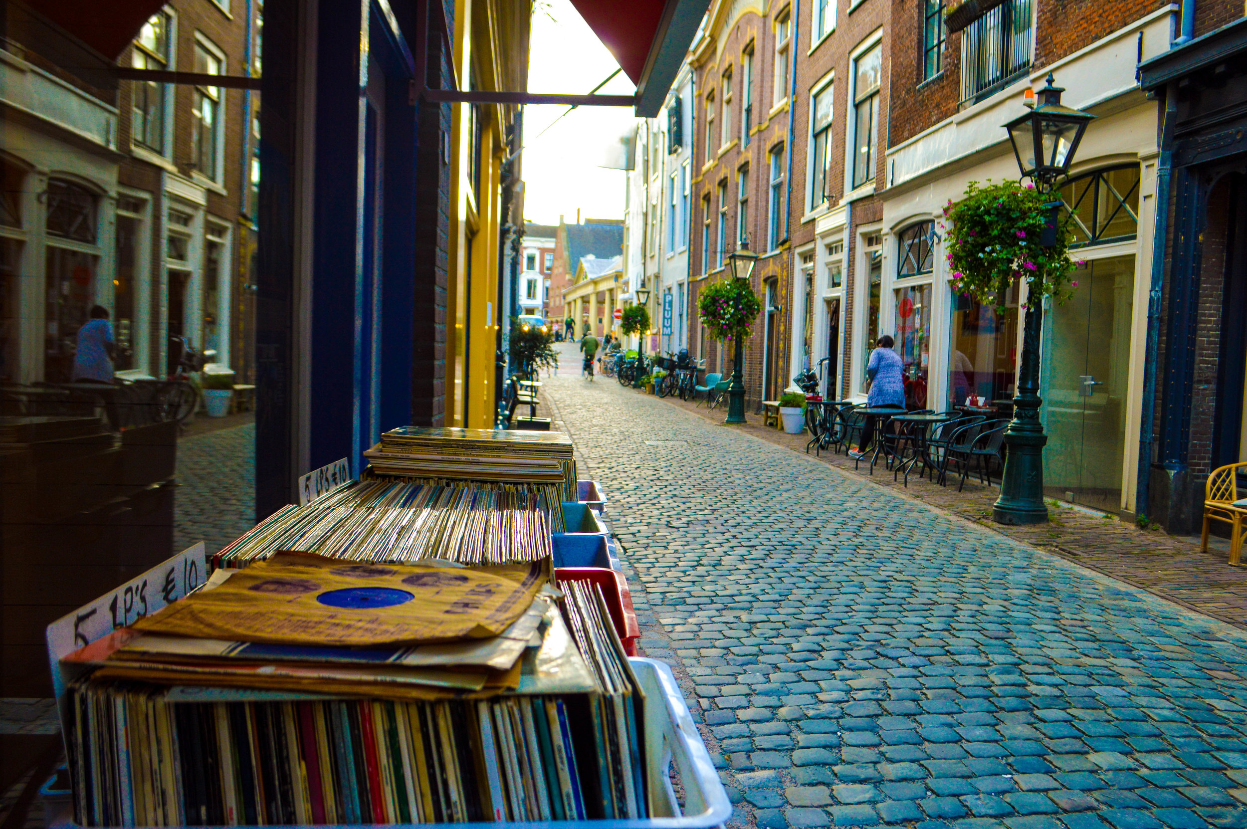 record store on street of cute street in leiden