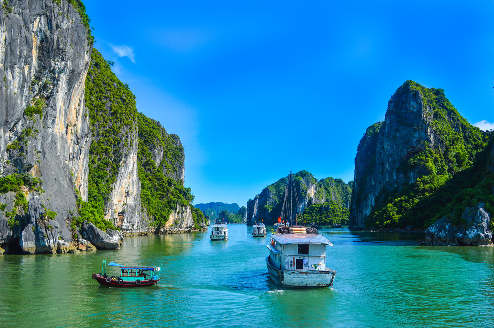 The emerald waters and limestone islands of Ha Long Bay