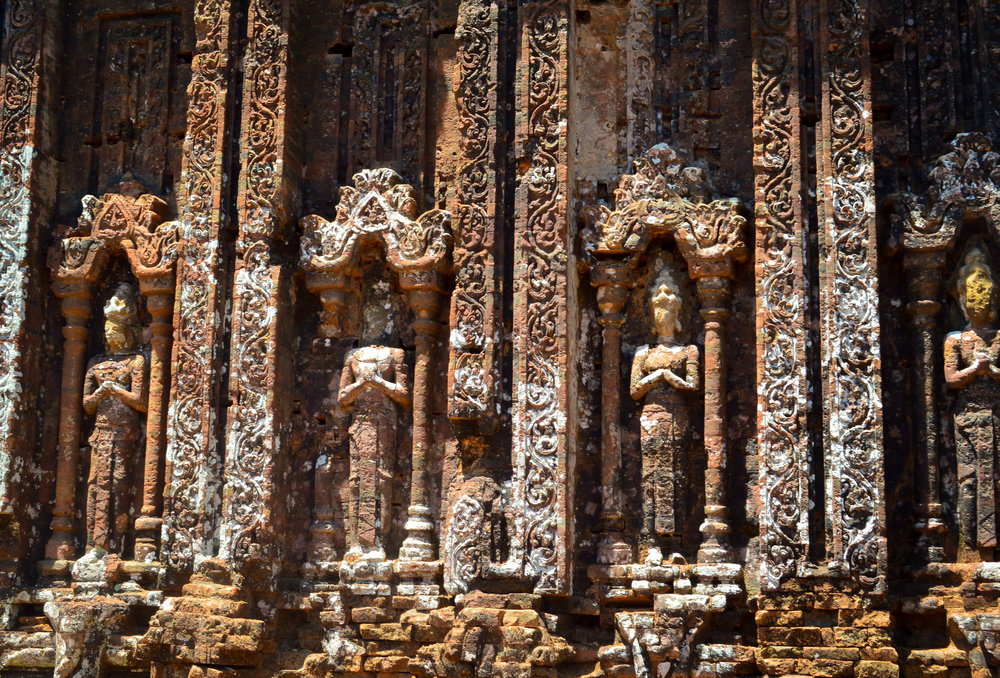 Intricate detail on the Mỹ Sơn ruins, built between the 4th and 14th century AD