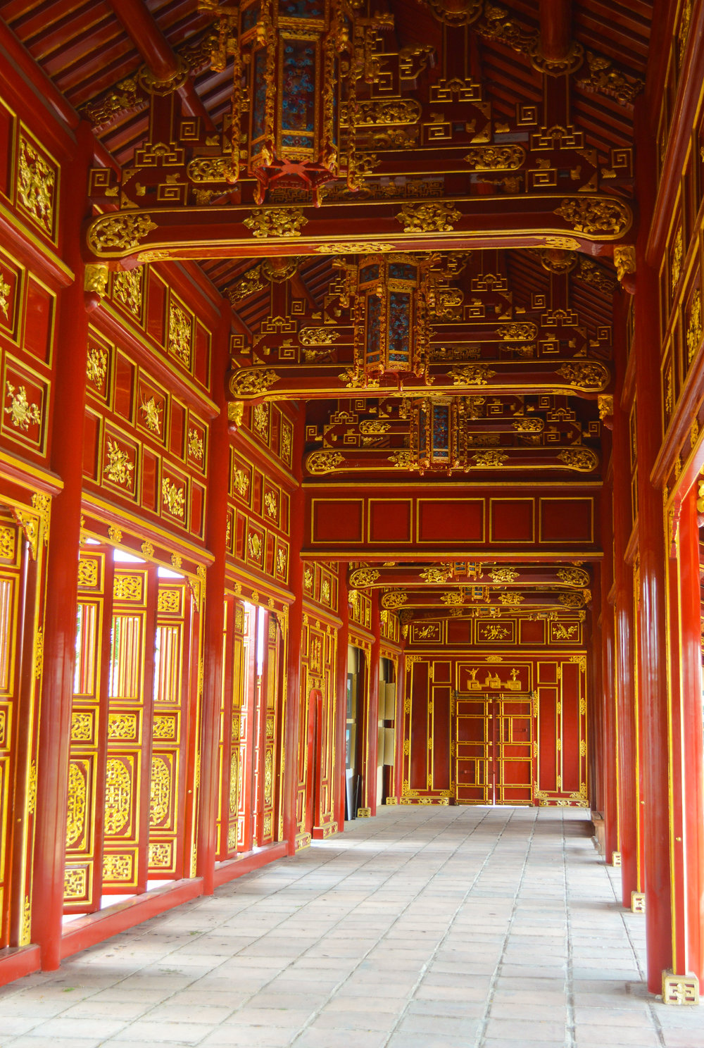 Restored corridors within the Hue monument complex