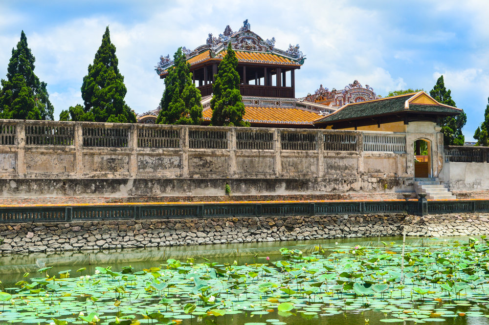 A waterlily pond within the ancient walled palace of Hue