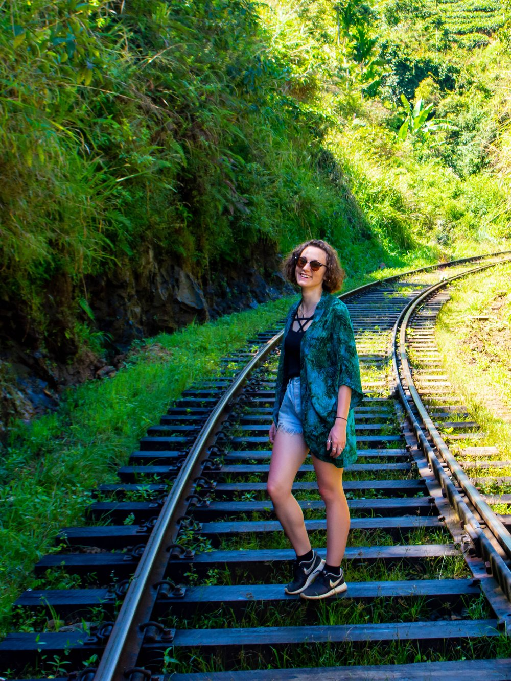 posing on the railway track