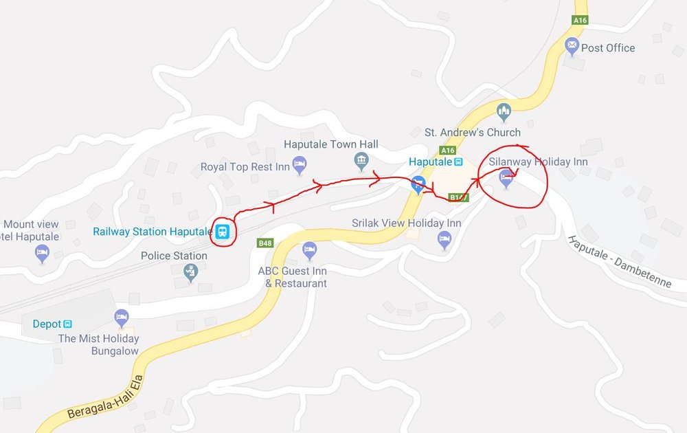 Finding the 'bus stop' once you arrive into Haputale isn't easy. So long as you are roughly where I have circled in the direction of Dambetenne, you will be able to flag something down to the tea factory.