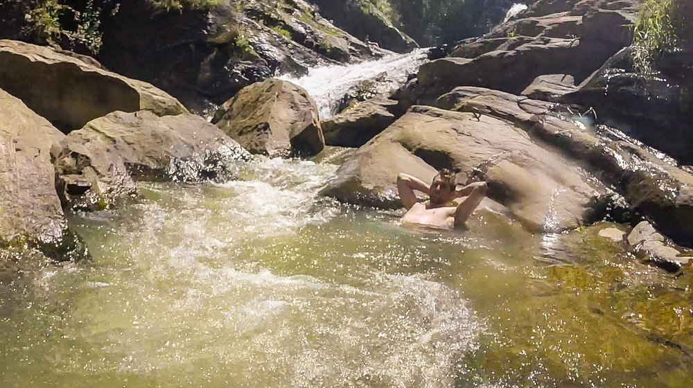 Some natural pools further downstream at the Ravana Falls.