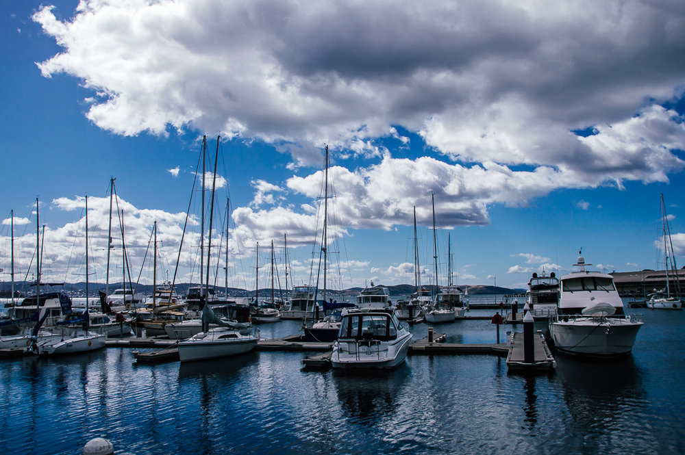 Hoobart Marina, the deepest marina in Tasmania - certainly no shortage of water here!