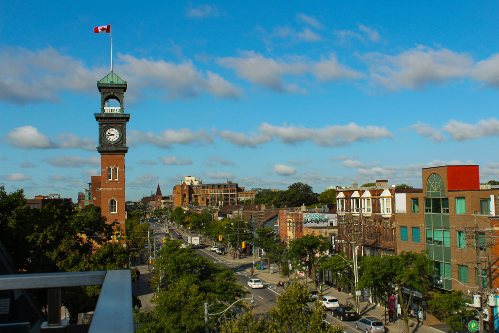 The view from my hostel down College Street in Kensington Market